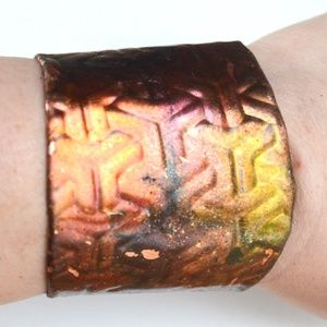 Abstract Colorful Psychedelic Copper Hippie Cuff